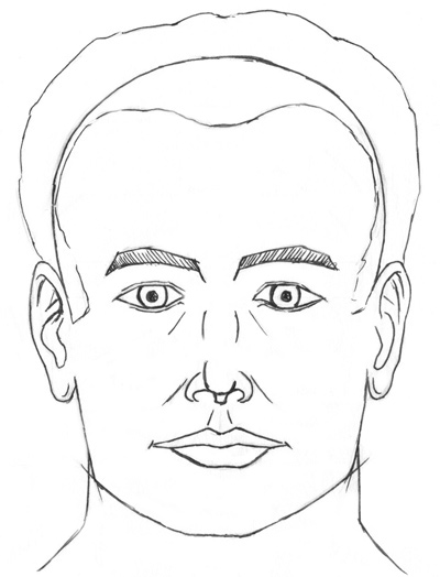 Portrait drawing in the frontal view