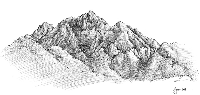 Draw shadows of a mountain