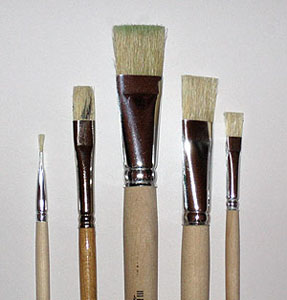 Paint with oil colours - bristle brush